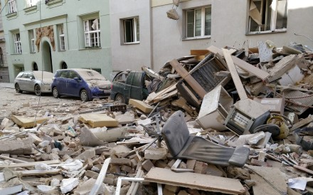 Debris on the street after an apartment building partially collapsed in an explosion in Vienna on Wednesday. Photo: dpa
