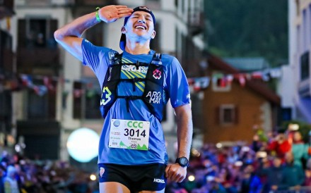 Tom Evans wins the CCC. Now a mainstay on the podium, his first ever ultramarathon was the MDS when he came third – would he have finished so high carrying more than the 'elites'? Photo: UTMB