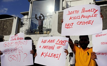 People in Colombo protest the reintroduction of the death penalty in Sri Lanka. Photo: EPA-EFE