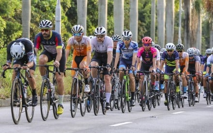 Cyclists compete during the Hong Kong National Road Championships held in Tin Shui Wai on Sunday. Photo: K.Y. Cheng