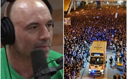 Joe Rogan on his YouTube show (left), discussing Hong Kong protesters parting for an ambulance during the June 16 protest. Photos: Joe Rogan Show/AFP