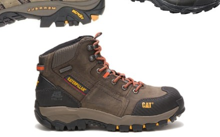 There are a range of shoes on the market, from minimalist shoes akin to trail running footwear, to heavy boots designed for construction. Photos: Caterpillar, Merrell, Salomon