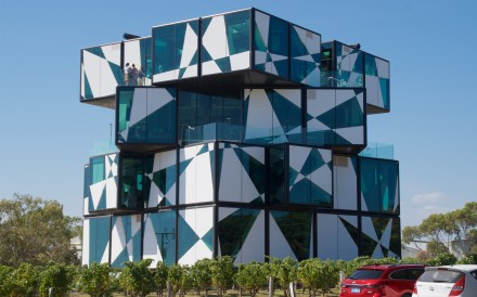 The d'Arenberg Cube, which resembles an unsolved Rubik's Cube and houses a tasting room and a restaurant, in South Australia'€s McLaren Vale. Photo: Peter Neville-Hadley