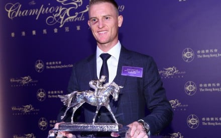 Zac Purton after winning the Most Popular Jockey Of The Year award on Friday night. Photos: Kenneth Chan