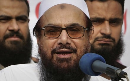 Hafiz Saeed addresses an anti-India rally in Lahore, Pakistan, in 2018. Photo: AP