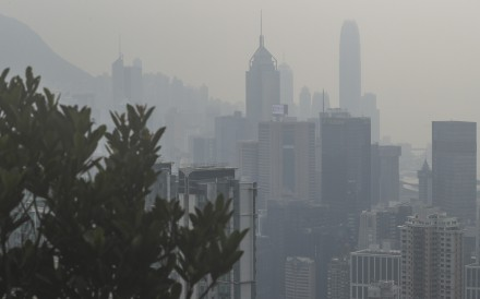 Skyscrapers in Central were barely visible from The Peak earlier this week because of high levels of air pollution. Photo: Sam Tsang