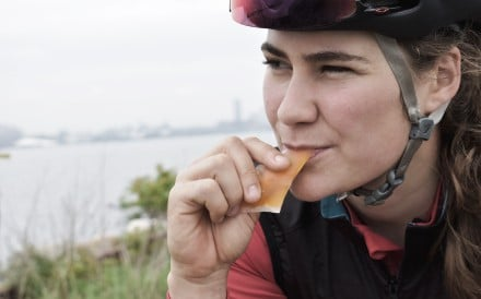 Danielle Morsehead, of cycling's Team Twenty20, enjoys a gel by Gone. She can dispose of it safe it the knowledge it is biodegradable. Photos: Lizzie Wright
