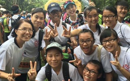 Agnes Cheng Ming-wai (centre back) is with students of the Christian Zheng Sheng Association during the 2014 Total Run trail. Photo: Handout