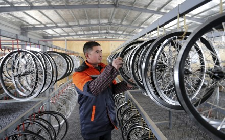 An electric bicycle factory in China's central Anhui province. Chinese manufacturers are shipping their bicycles to Thailand for relabelling in a bid to dodge European Union tariffs. Photo: AP