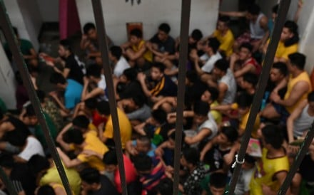 Children being held at a juvenile detention centre in Malolos town, Bulacan province, gather for roll-call. Photo: AFP