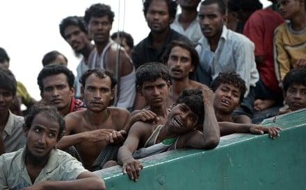 Rohingya migrants drifting in Thai waters. Photo: AFP
