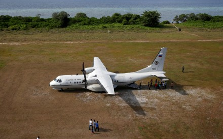 A Philippine Air Force plane on Thitu Island. Photo: Reuters