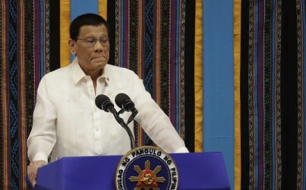 Philippine President Rodrigo Duterte during his fourth State of the Nation Address at the House of Representatives in Manila. Photo: AP