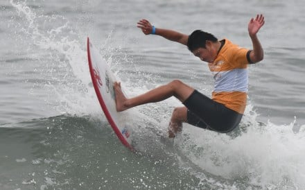 Japan's Taiki Karube competes in the Tokyo 2020 Olympic Games test event at Tsurigasaki Surfing Beach in Chiba. Photo: AFP