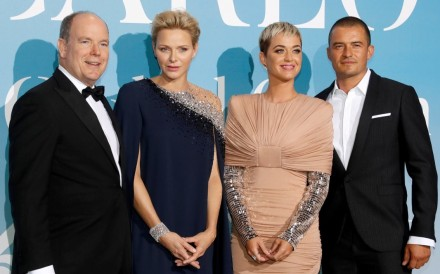 (From left) Prince Albert and Princess Charlene with singer Katy Perry and actor Orlando Bloom at the Monte Carlo Gala for the Global Ocean last September. Photo: Reuters