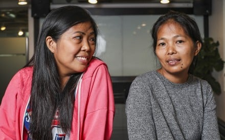 Siblings Mary Ann (left) and Baby Jane Allas, who work as domestic helpers in Hong Kong. Photo: Xiaomei Chen