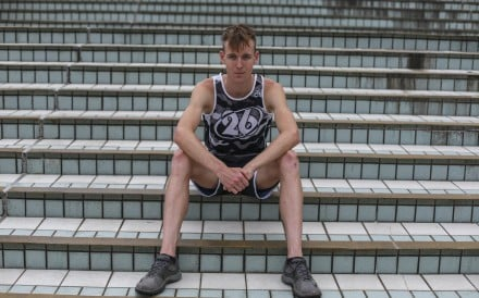 Hong Kong triathlete Oscar Coggins photographed outside Hong Kong Stadium. Photo: Xiaomei Chen