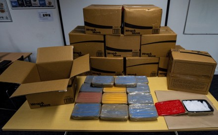 Boxes containing meth are displayed in Auckland. Photo: AP