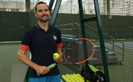 Brett Hillier before practice. He now enjoys playing tennis and feels he is as competitive as when he was trying to break into the professional tour more than 10 years ago. Photo: Pavel Toropov