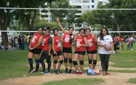 Some Singapore-based foreign domestic workers play volleyball to keep fit. Photo: Clifford Lee
