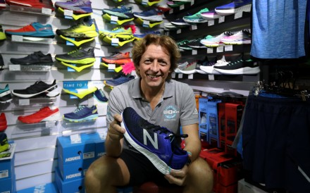 Peter Hopper speaks to South China Morning Post reporter Patrick Blennerhassett about finding a pair of running shoes. Photo: Roy Issa