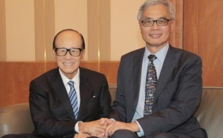 Billionaire Li Ka-shing (left) with Professor Wei Shyy, president of Hong Kong University of Science and Technology, on Thursday. Photo: Handout
