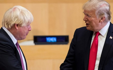Boris Johnson, then UK foreign secretary, meets US President Donald Trump in New York in 2017. File photo: AFP