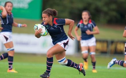 Natasha Olson-Thorne breaks away for Hong Kong during the Rugby World Cup 2017, in Ireland. Photo: HKRU