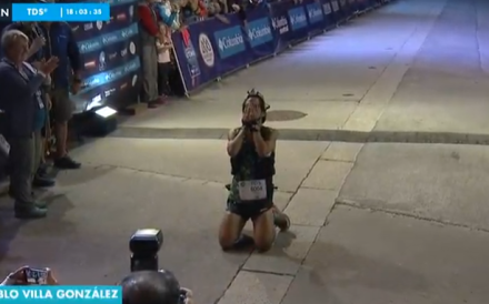 Pablo Villa Gonzalez wins the TDS at the UTMB. Photo: UTMB TV