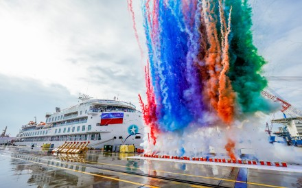 The first China-made polar expedition cruise vessel delivered to US company Sunstone Ships at China Merchants Industry Holdings' shipyard in Haimen in Jiangsu province on Friday, September 6, 2019. Photo: Handout