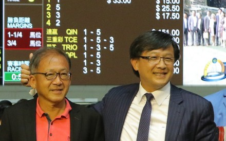 Junius Ho (right) celebrates Hong Kong Bet's win at Happy Valley in July. Photos: Kenneth Chan