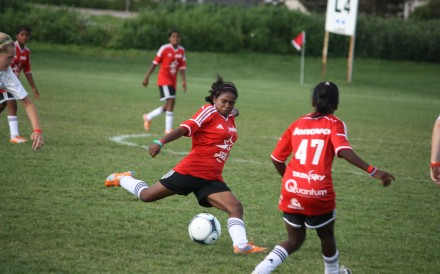 Sunita Kumari, a graduate of Yuwa's soccer training, plays in the 2014 USA Cup, the largest international youth soccer tournament in the Western hemisphere.