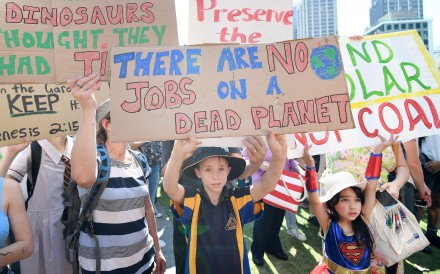 Students take to the streets in Australia and other Asia-Pacific countries on September 20, in a rally demanding urgent measures from world leaders at the UN Climate Action Summit. Photo: EPA-EFE