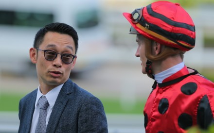Trainer Jimmy Ting and jockey Chad Schofield share a laugh after combining for a winner this season. Photos: Kenneth Chan