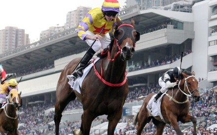 Ping Hai Star races away under jockey Ryan Moore to win the Hong Kong Derby in 2017. Photos: Kenneth Chan