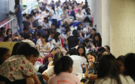 Domestic workers gathered in Central on a public holiday. 17JUN18 SCMP / Edward Wong
