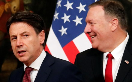 Italian Prime Minister Giuseppe Conte with US Secretary of State Mike Pompeo on Tuesday. Photo: Reuters