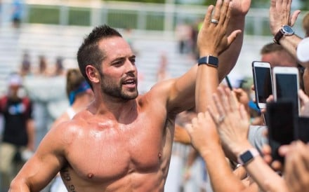 Rich Froning was beaten by Scott Panchik during a head-to-head at the CrossFit Open announcement. Photo: Rogue