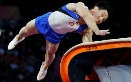 Hong Kong's Shek Wai-hung in action in the men's vault final at the world championships in Stuttgart. Photo: Reuters