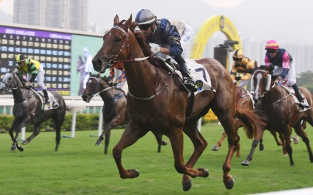 Aethero dashes to victory at Sha Tin on Saturday. Photos: Kenneth Chan