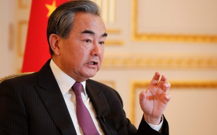 Chinese Foreign Minister Wang Yi speaks during an interview in Paris on Monday. Photo: AFP