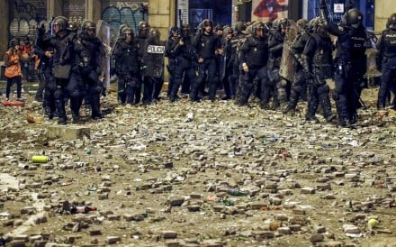 Riot police on the streets of Barcelona last week. Photo: Reuters