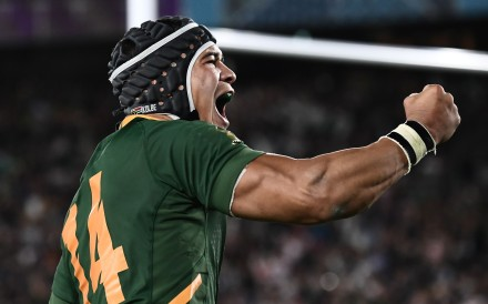 South Africa's wing Cheslin Kolbe celebrates after scoring a try during the Japan 2019 Rugby World Cup final match between England and South Africa. Photo: AFP