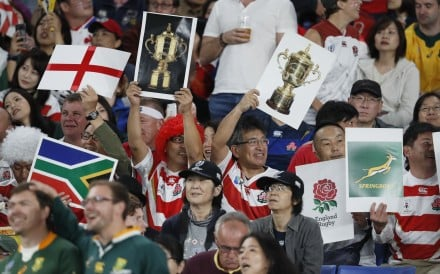Japanese fans cheer their favourite teams during the Rugby World Cup final in Yokohama. Photo: Reuters