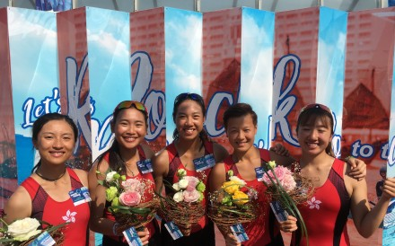The women's quad wins gold at the World Rowing Coastal Championships. From left: Wong Sheung-yee, Leung King-wan, Hung Wing-yan-winne, cox Tse Yan-man and Leung Wing-wun