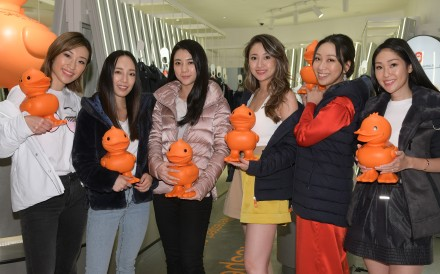 (From left) Hong Kong influencers Florence Tsai, Christine Fok, Vincy Yeung, Sarah Zhuang, Veronica Lam and Nat Kwan at the opening of Save the Duck at K11 Musea in Hong Kong in October.