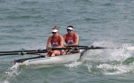 Aubrey Oldham (back) in the mixed double at the World Rowing Beach Sprint Finals, Shenzhen. Photo: World Rowing