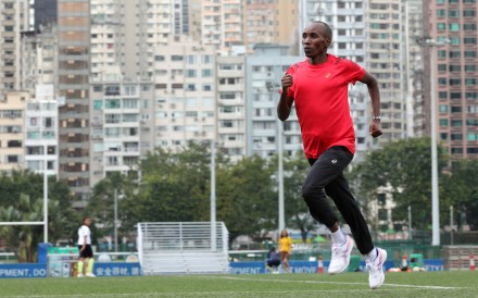 Train like a champion marathon runner: Lukas Wambua Muteti demonstrating warm-up exercises in his training sessions in Hong Kong. Photo: May Tse