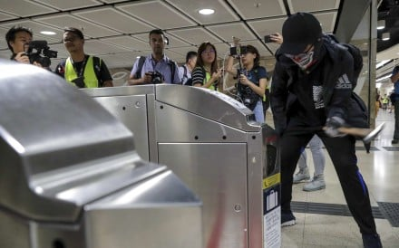 Turnstiles at Sha Tin MTR station take a beating during a recent protest. Photo: Edmond So