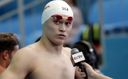 China's Sun Yang is interviewed at the 2019 World Swimming Championships in Gwangju, South Korea. Photo: AP